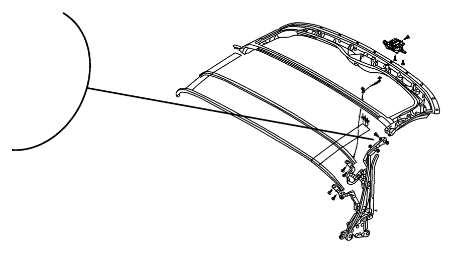 Dodge Viper Side rail. Folding top. Left. Linkage. Body