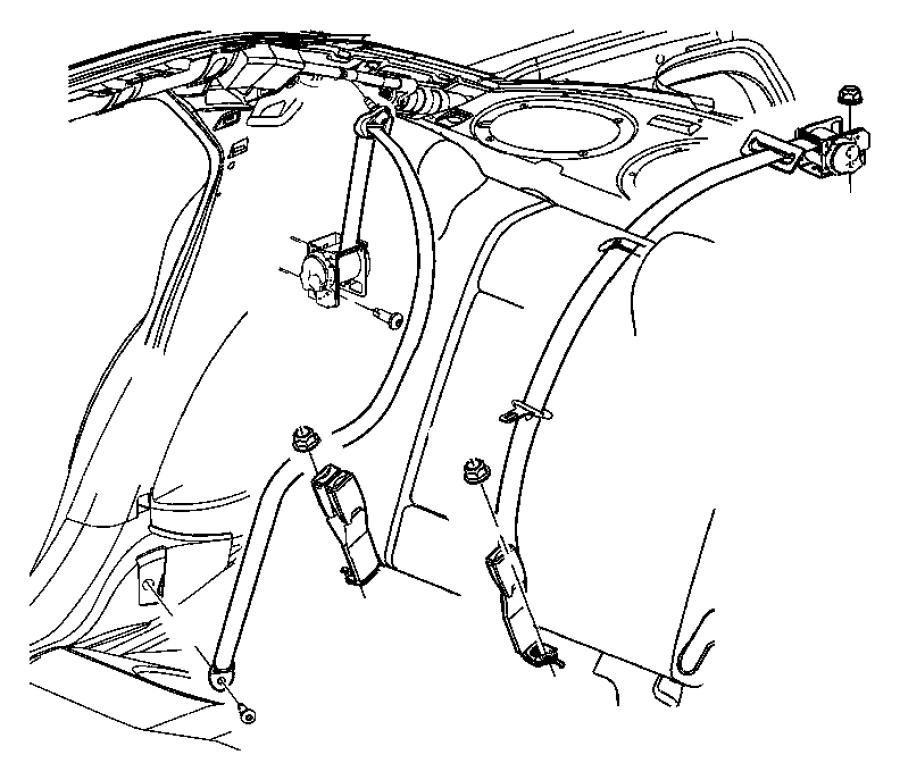 2009 Chrysler 300 Seat belt. Rear outer. Left, right