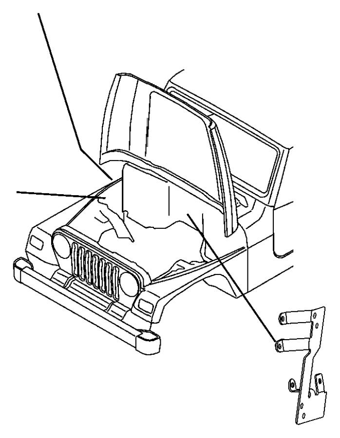 2004 Jeep Wrangler Bracket. Wiring harness. Side cowl
