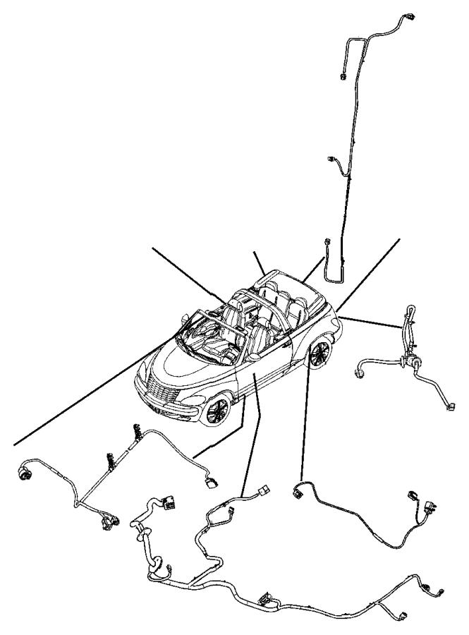 Chrysler PT Cruiser Wiring. Rear fascia. Lamps, painted