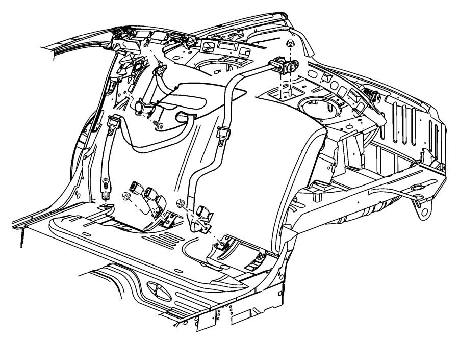 Dodge Stratus Seat belt. Rear inner. [e-marked seat belts
