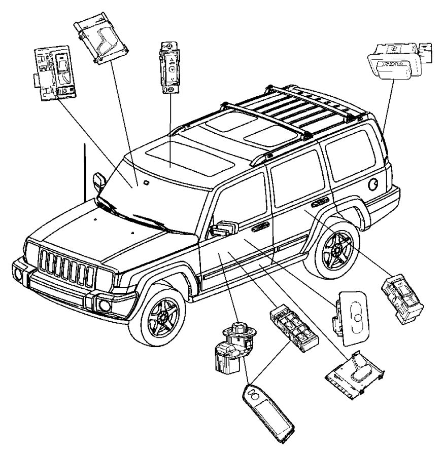 Jeep Commander Switch. Sunroof. Trim: [all trim codes