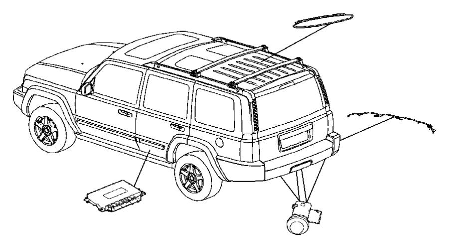 2007 Jeep Commander Harness, wiring. Rear fascia, sensor