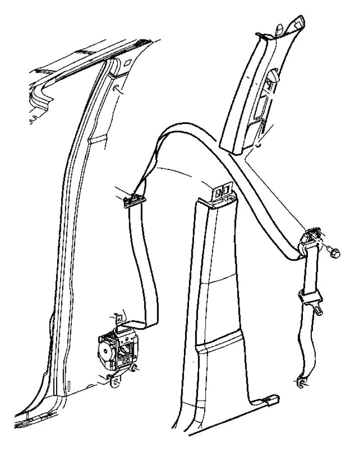 Dodge Dakota Seat belt. Front outer. Right. [d5]. Trim
