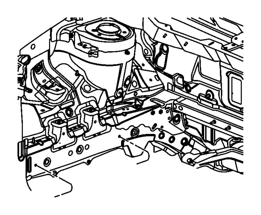 2008 Dodge Caliber Silencer. Side rail. Shields, underbody