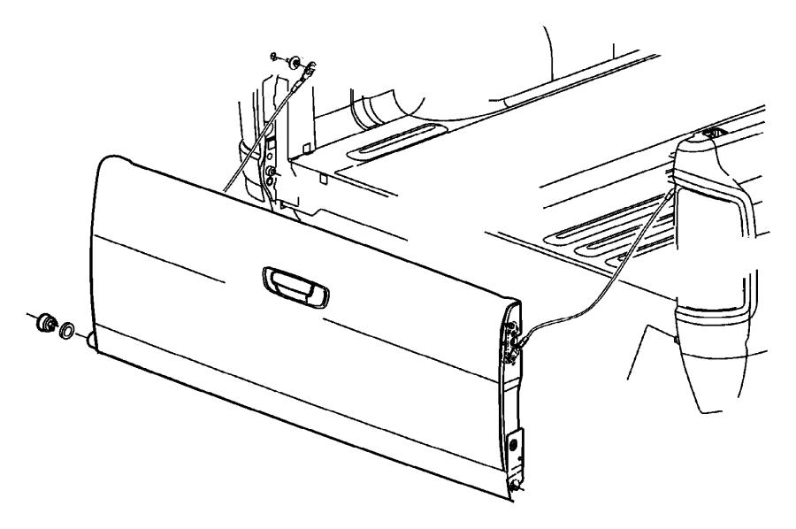 Dodge Ram 1500 Rod. Tailgate handle to latch. Box, glass