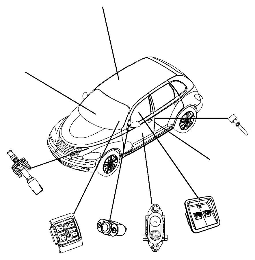 Chrysler PT Cruiser Knob. Power seat switch. Trim