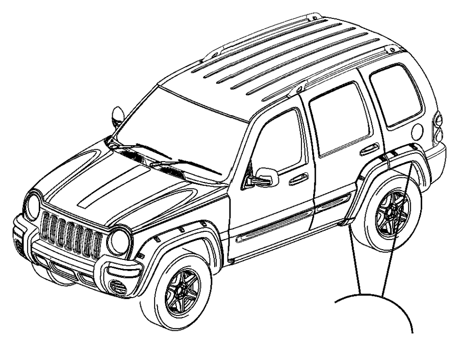 2007 Jeep Liberty Molding. Front door. Lower right, right