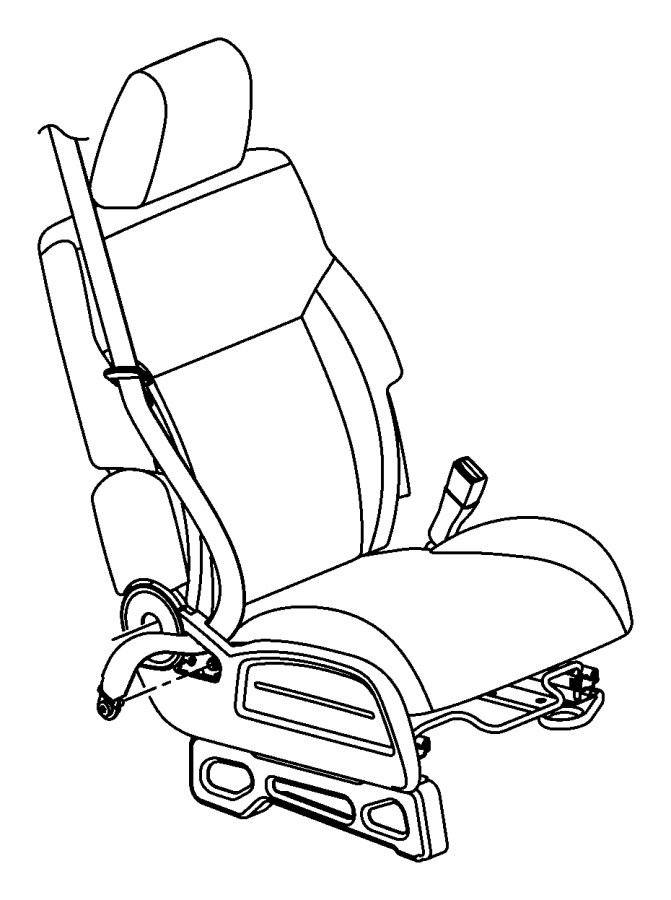 2008 Dodge NITRO Seat belt. Front inner. Right. Trim