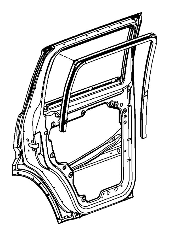 2008 Dodge NITRO W/strip. Rear door glass run. Left
