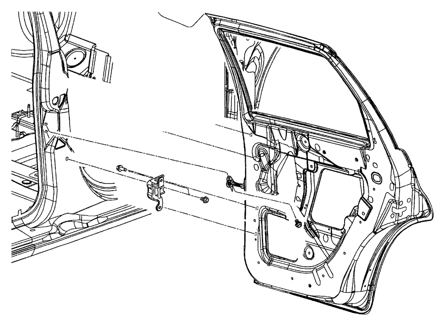 2003 Chrysler PT Cruiser Hinge. Rear door. Right, upper