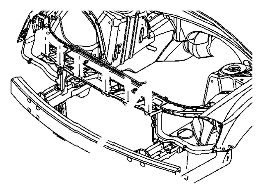 Chrysler 300 C/member. Front support. Hood, fascia, body