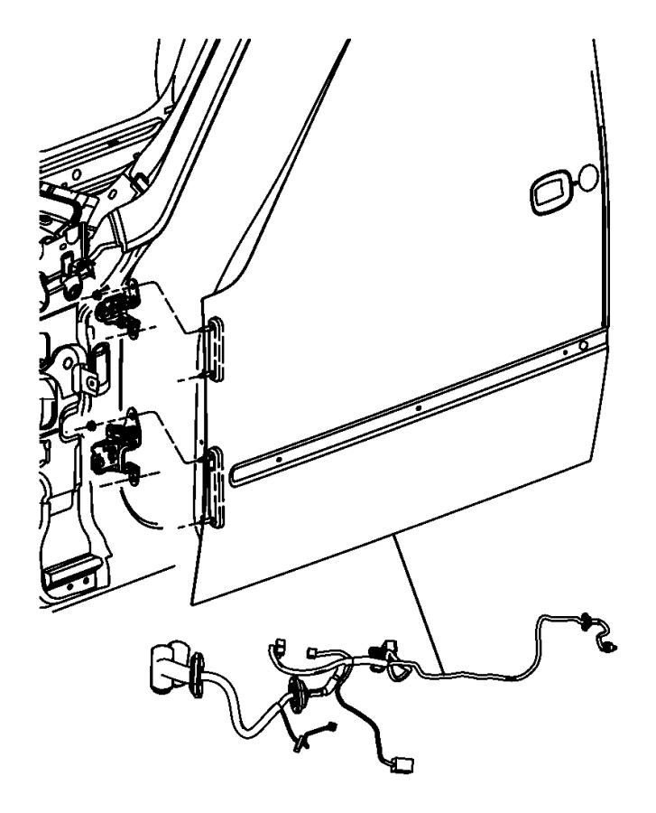Jeep Liberty Wiring. Front door. Left, passenger. [pwr
