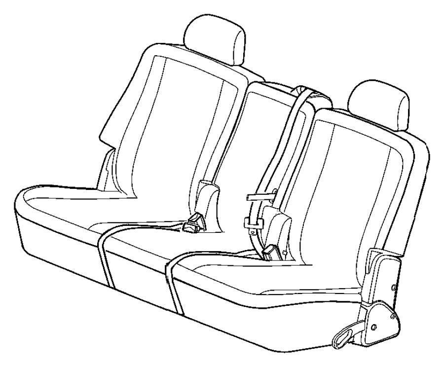 2008 Dodge Durango Seat belt. Rear inner. [j1], [j3]. Trim