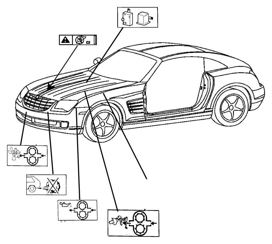 2008 Chrysler Crossfire Label. Emission. Market, engine