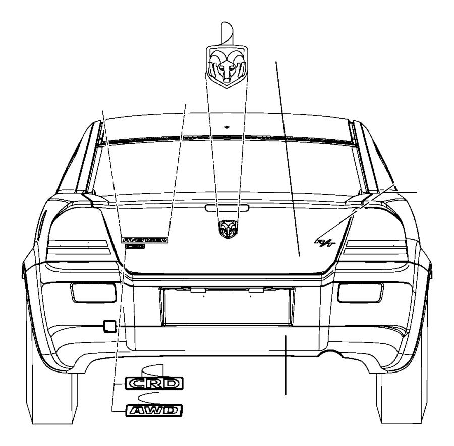 2008 Chrysler Sebring Nameplate. Medallion. Ram head