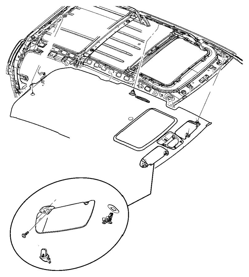 2007 Chrysler Aspen Visor. Illuminated. Left. Trim: [all