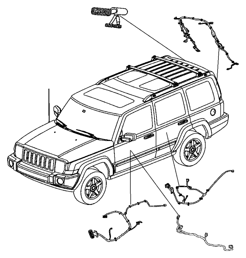 2007 Jeep Commander Wiring. Door jumper. Driver side, left