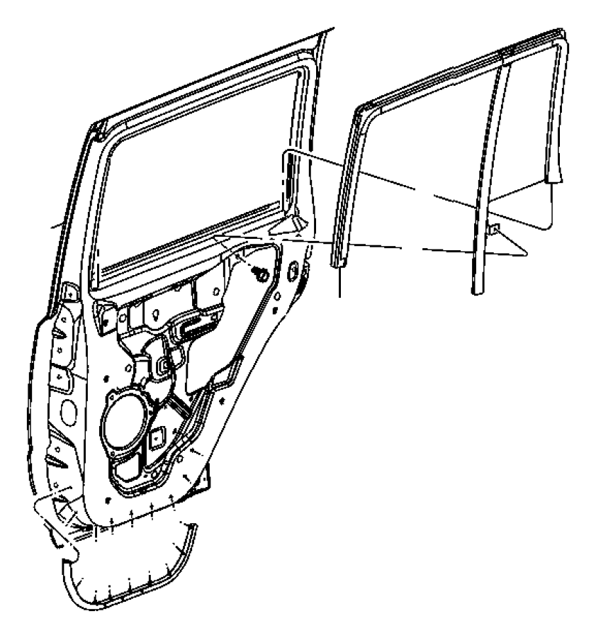 Jeep Commander Glass. Rear door. Fixed. Left. Sunscreen
