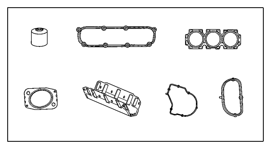 Chrysler Town & Country Gasket package. Engine upper. Egl