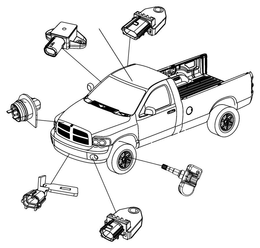 Dodge Ram 1500 Sensor. Door pressure. Bags, air, advanced