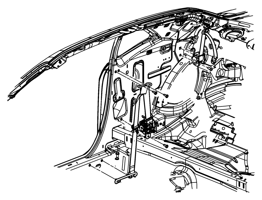 2009 Dodge Challenger Seat belt. Front outer. After 07/07