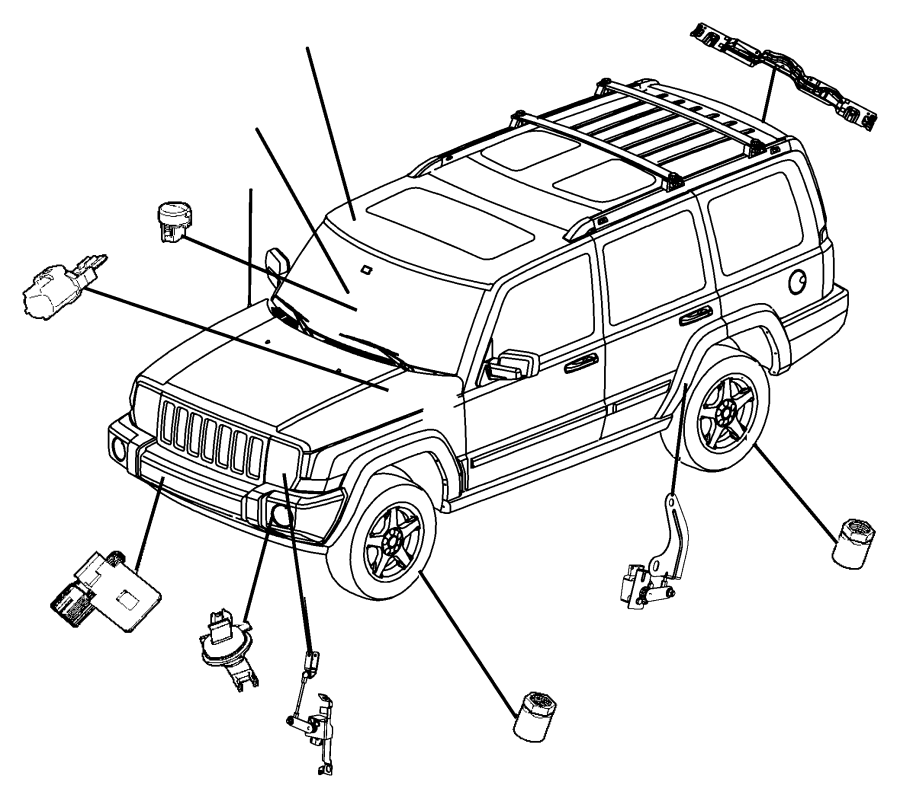 2008 Jeep Commander Sensor. Washer fluid level. System
