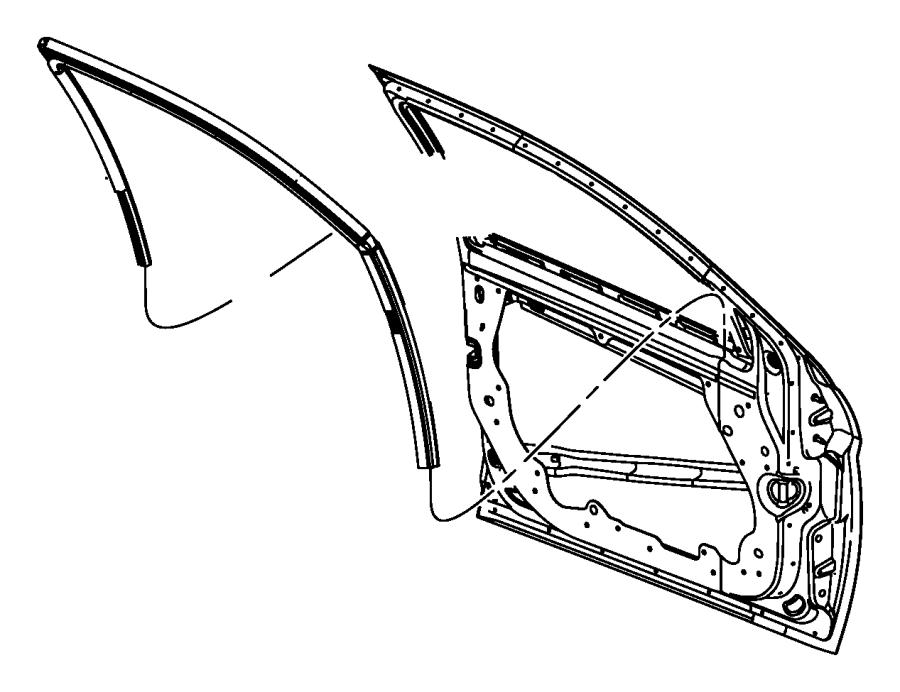 2008 Chrysler Sebring Weatherstrip. Front door glass