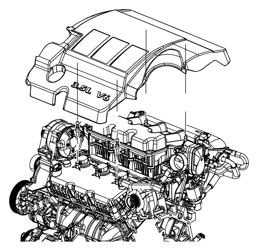 2008 Chrysler Sebring Ball stud. Mounting. Engine cover