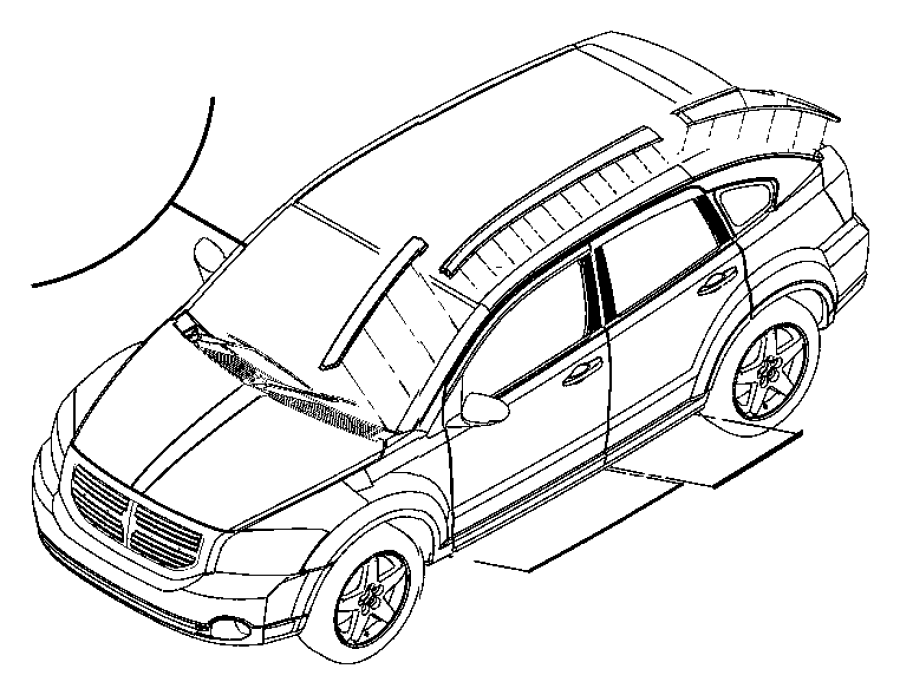 2007 Dodge Caliber Tape. C pillar. Right. [black-out tape