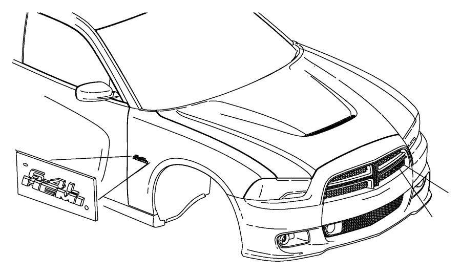 2014 Chrysler 300 Nameplate. Front fender. 6.4l hemi. [mgt