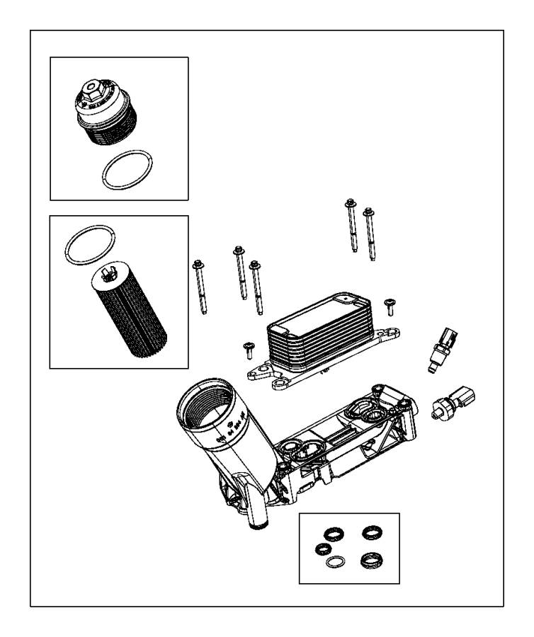 Dodge Charger O ring kit. Oil filter adapter/cooler