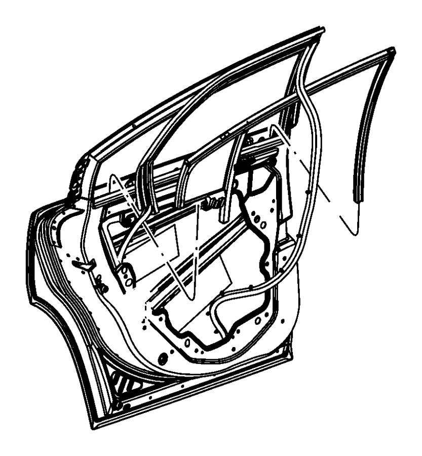 2012 Dodge Charger Weatherstrip. Rear door flush glass