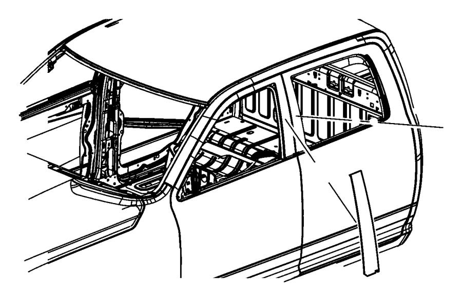 2016 Ram 3500 Molding. Rear door. Left, right. [chrome