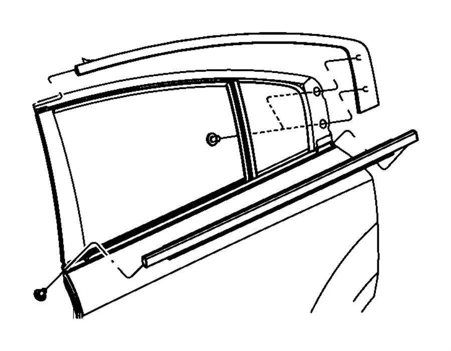2011 Dodge Charger Weatherstrip. Door belt outer. Rear