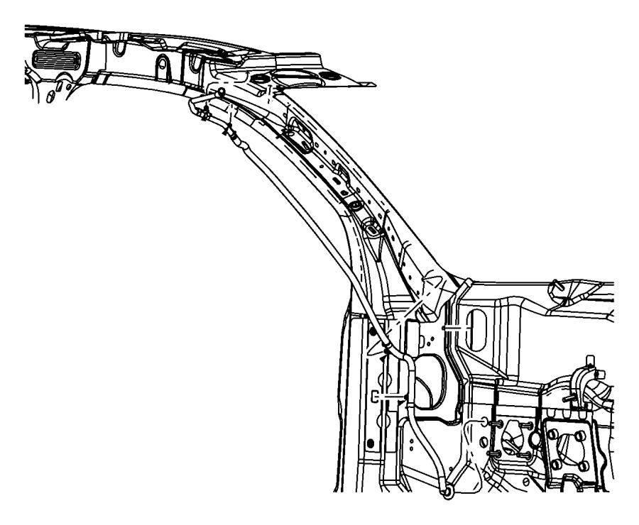 2010 Dodge Journey Hose. Sunroof drain. Left. Close, front