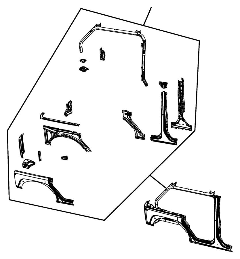 Jeep Wrangler Panel, panel kit, panel package. Body side