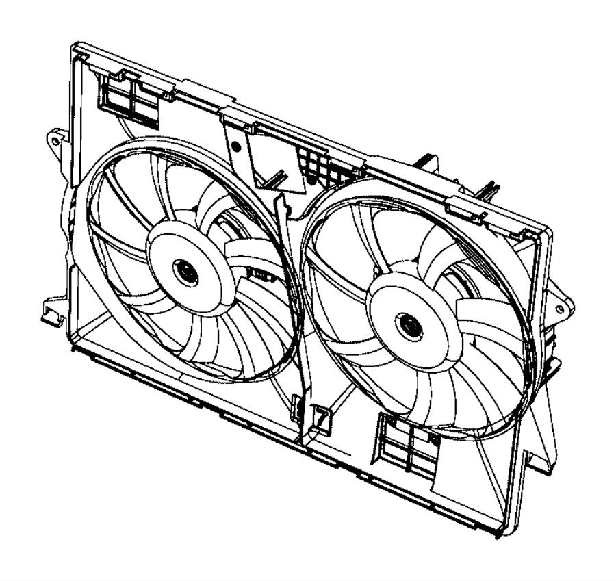2015 Jeep Cherokee Fan module. Radiator cooling. [front
