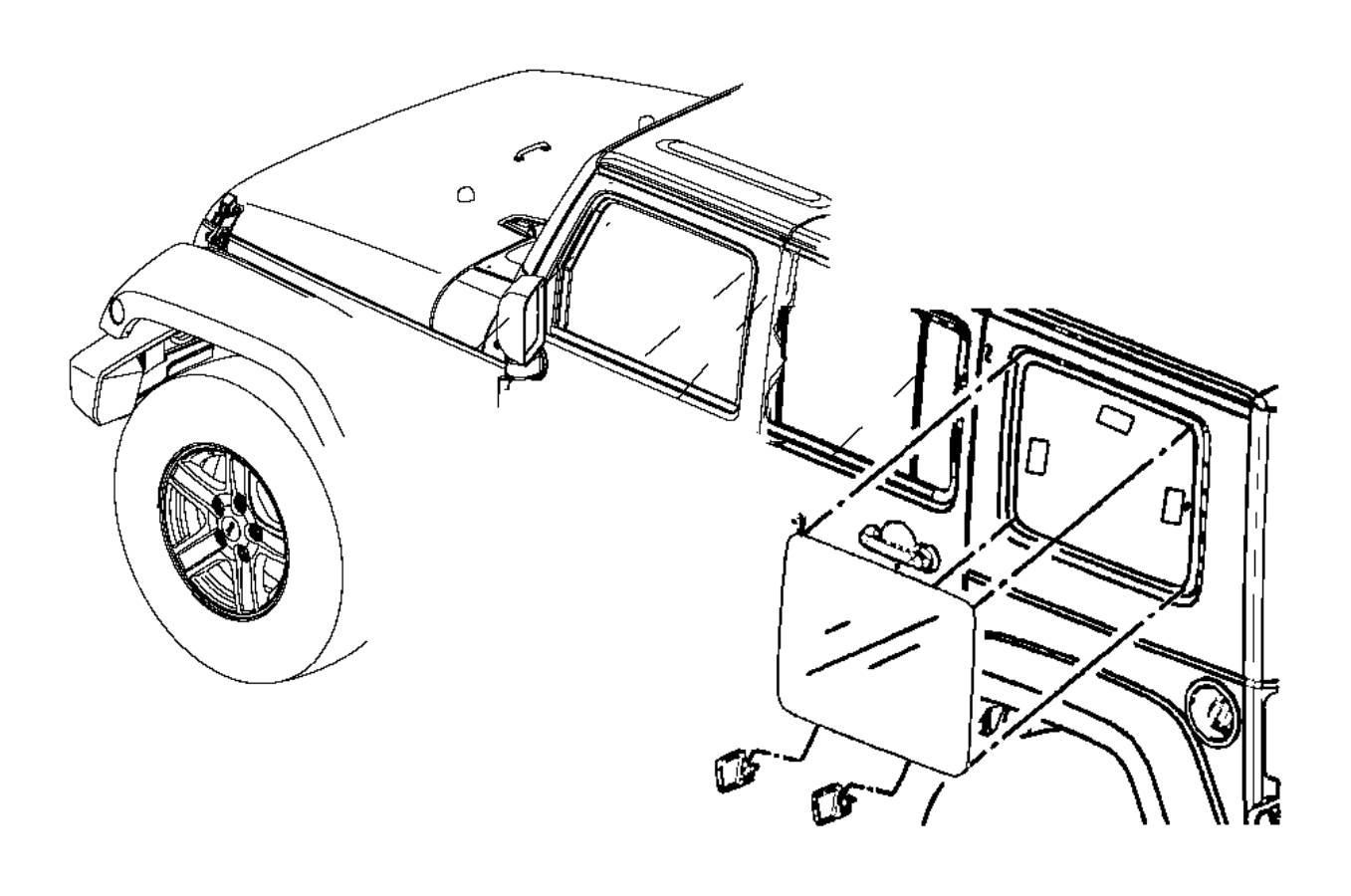 2011 Jeep Wrangler Spacer. Quarter window. Hard, piece