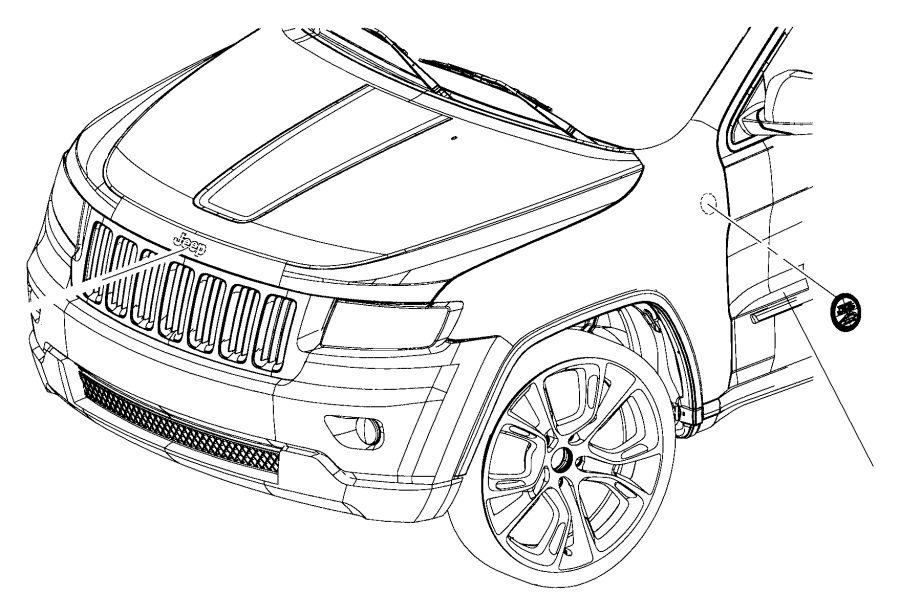 2017 Jeep Grand Cherokee Medallion. Fender front. Trail