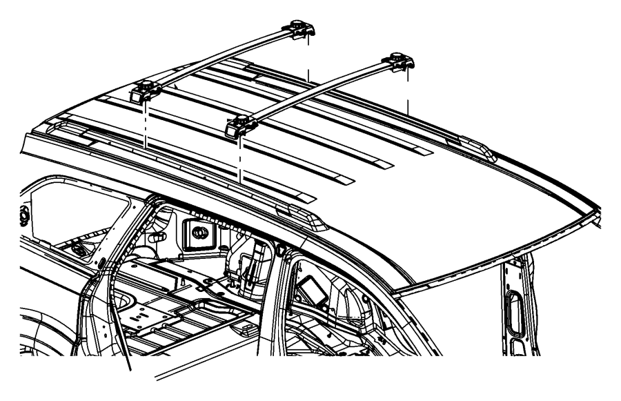 2016 Dodge Journey Rail. Lugg rack cross. Front, right