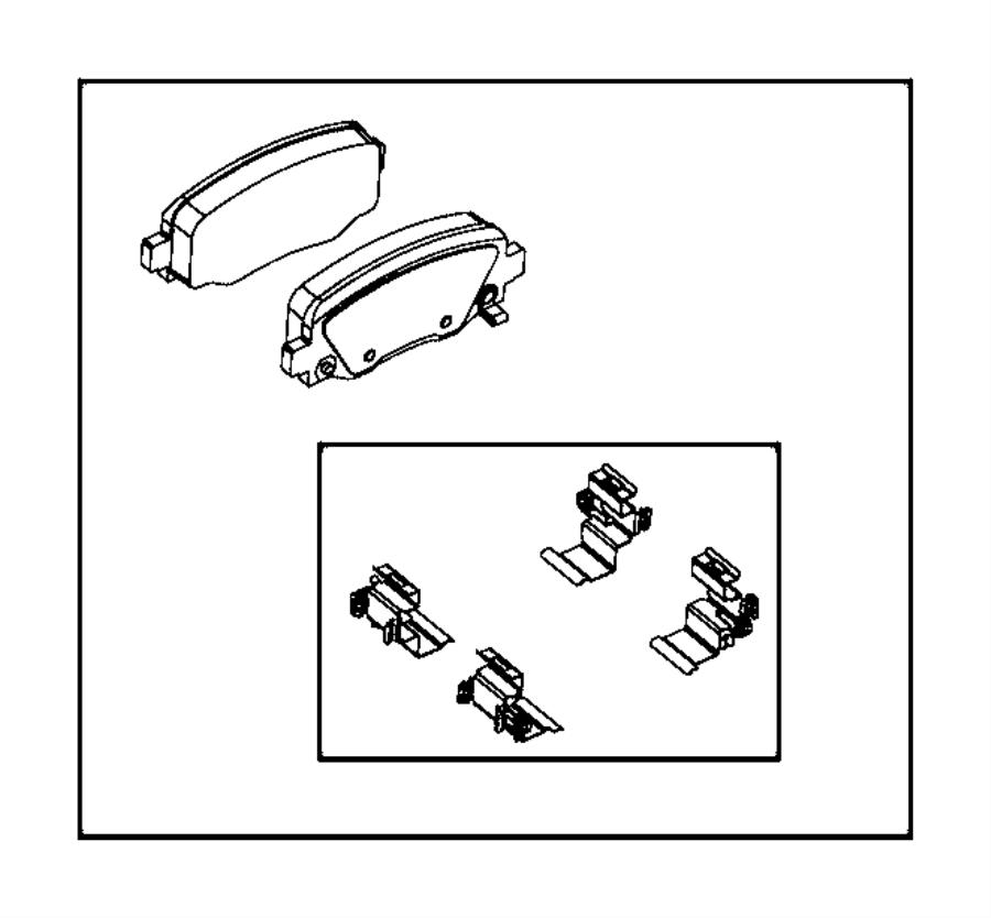 2018 Jeep Cherokee Pad kit. Rear disc brake. Brakes, wheel