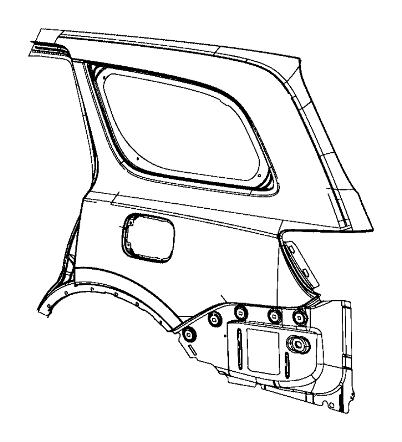 Jeep Grand Cherokee Panel. Body side aperture outer. Rear