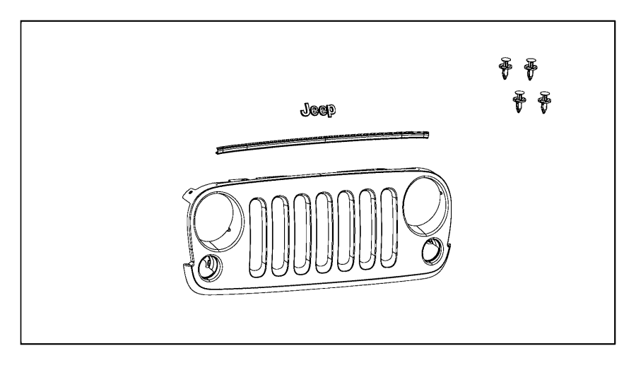 2014 Jeep Wrangler Spring clip. Quantity of 6. Grille, kit