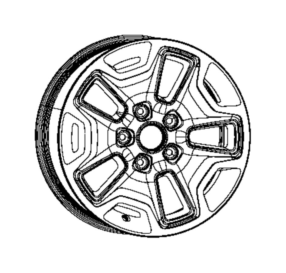 2017 Jeep Wrangler Wheel. Aluminum. Front or rear. Color