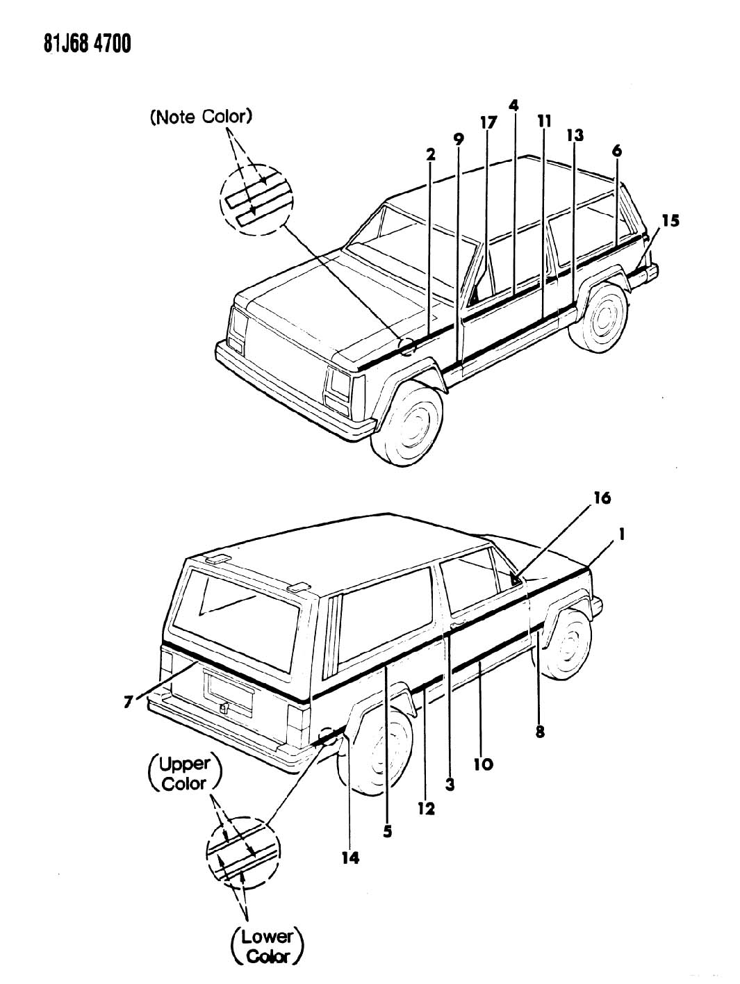 1986 Jeep Cherokee DECALS, EXTERIOR 2 TONE, 1986 XJ