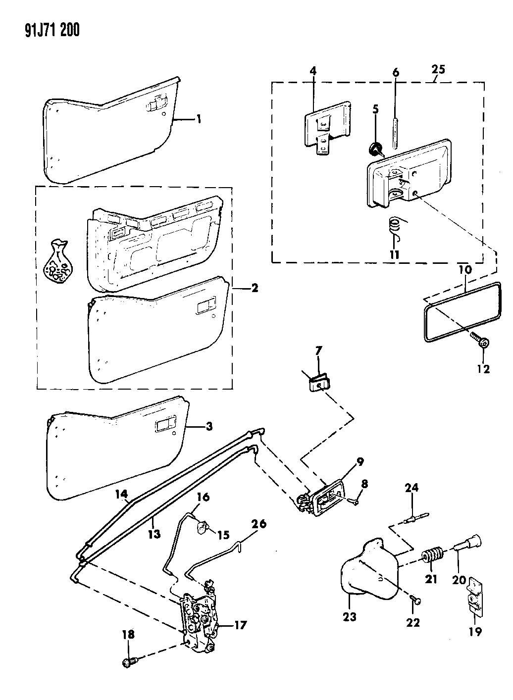 1990 Jeep Clip. Handle to latch rod. Trim: (*o0.). Cgt
