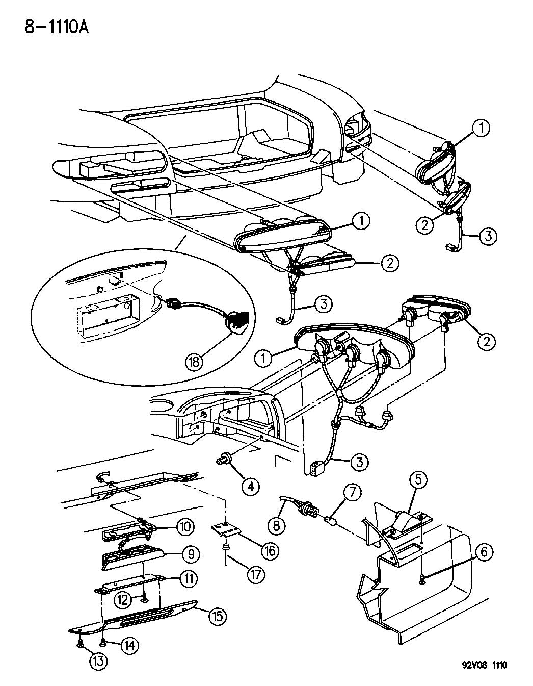 Chrysler Lhs Nut. Wing. M6. Deck lid, tail lamp. Applique