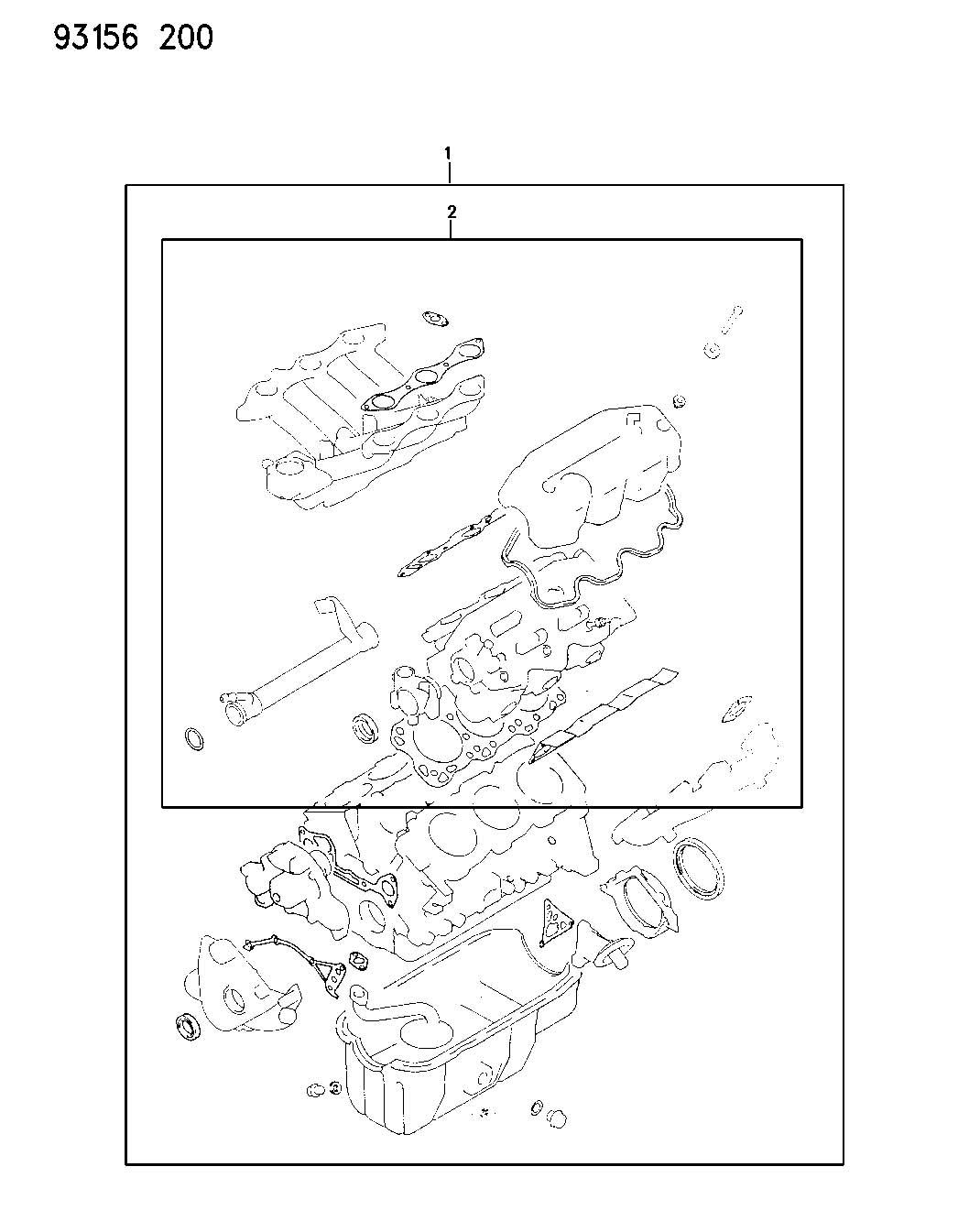 Chrysler Grand Voyager Gasket package. Engine. Upper. Efa