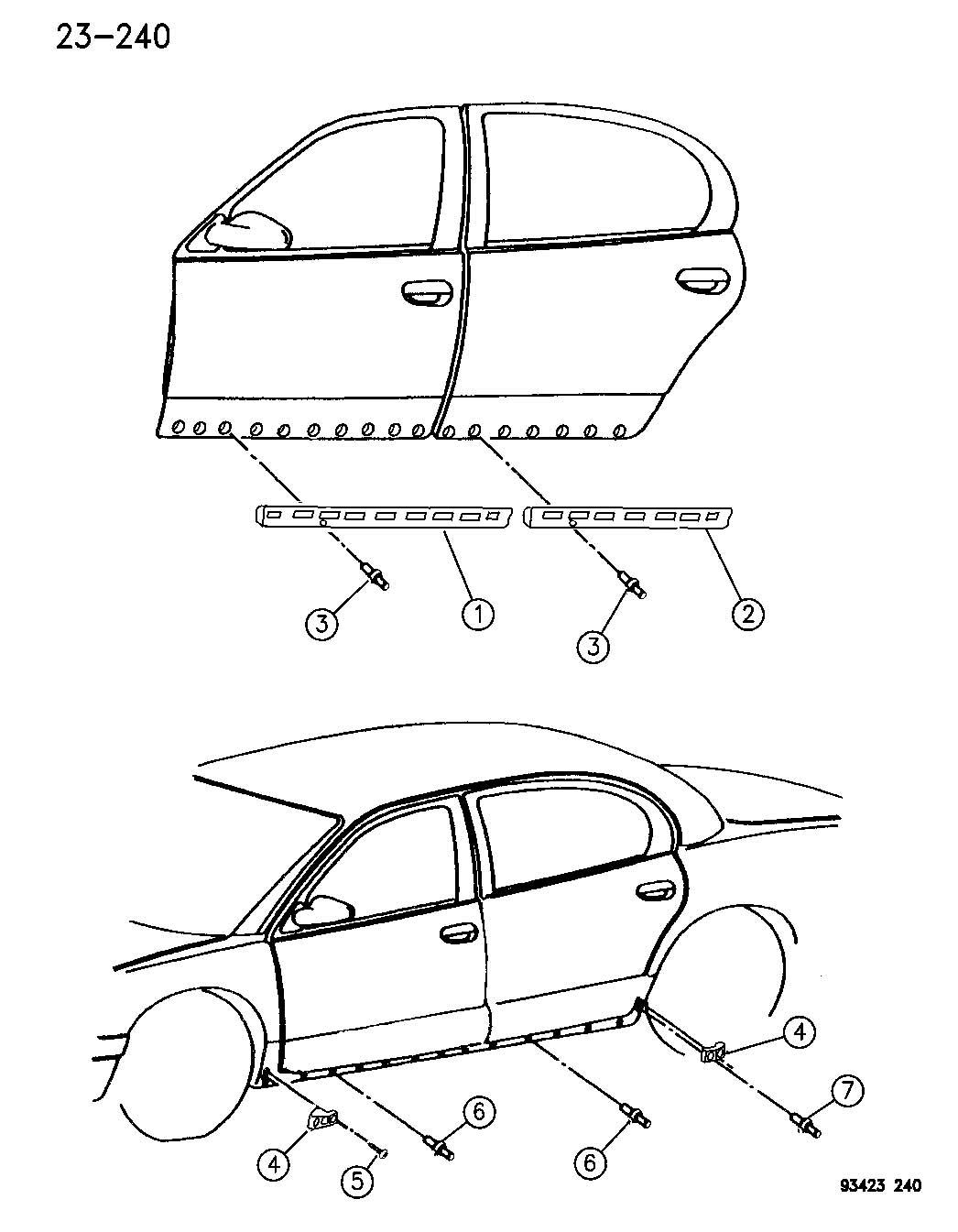 Dodge Neon Rivet. Blind. 125. Hood, rear. Trim: [all trim